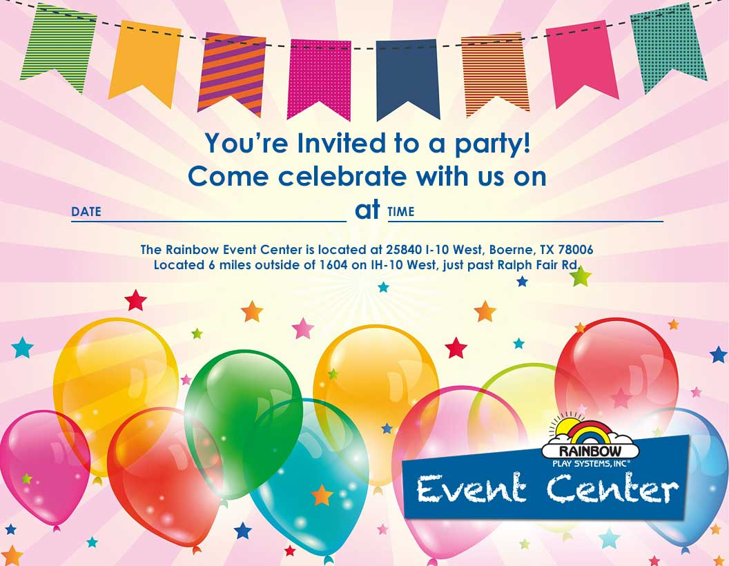 Free Party Invitation Rainbow Event Center
